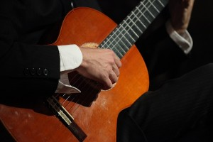 Close Up of Guitar at Wedding at Lighthouse at Chelsea Pier